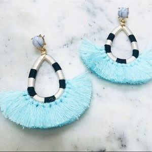 Statement Fan Fringe Earring-Lt.Blue, NWT